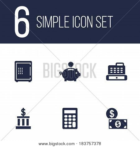Set Of 6 Budget Icons Set.Collection Of Calculate, Strongbox, Money And Other Elements.