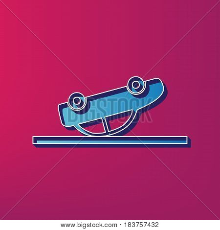 Crashed Car sign. Vector. Blue 3d printed icon on magenta background.