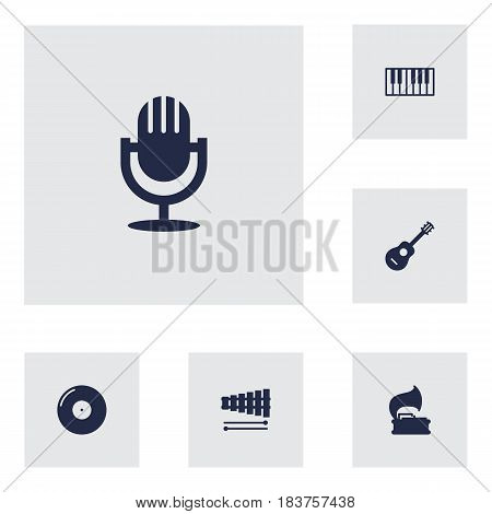 Set Of 6 Music Icons Set.Collection Of Acoustic, Octave Keyboard, Retro Disc And Other Elements.