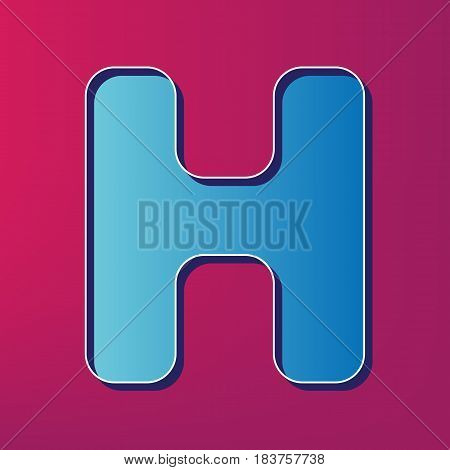 Letter H sign design template element. Vector. Blue 3d printed icon on magenta background.