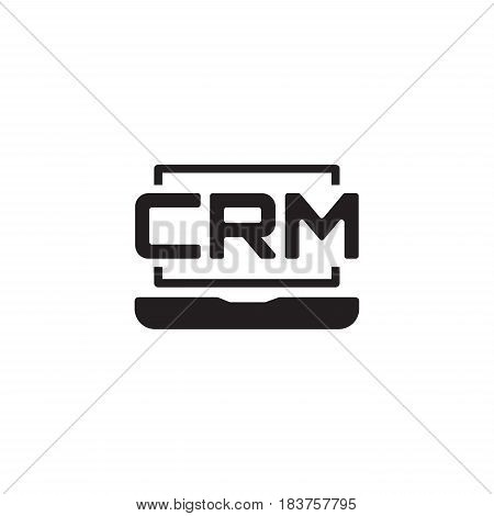 Online CRM System Icon. Business and Finance. Isolated Illustration.