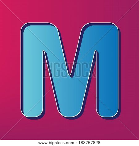 Letter M sign design template element. Vector. Blue 3d printed icon on magenta background.