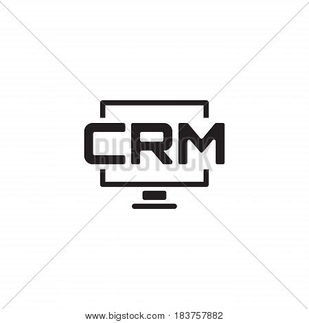 Desktop CRM System Icon. Business and Finance. Isolated Illustration.