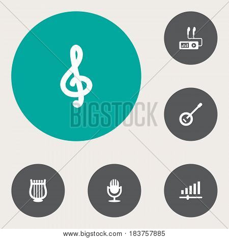 Set Of 6 Music Icons Set.Collection Of Quaver, Banjo, Lyre And Other Elements.