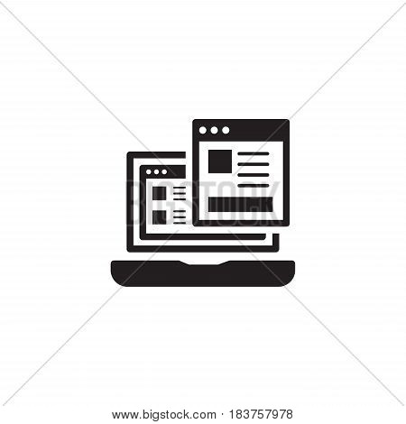 Landing Page Icon. Business and Finance. Isolated Illustration. Laptop with web page. Laptop computer with landing page.
