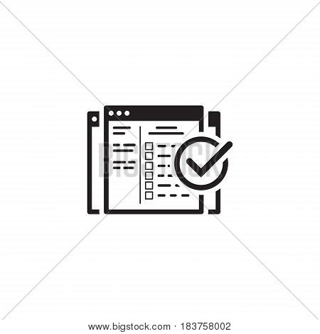 Setup Campaign Icon. Business and Finance. Isolated Illustration. Web Page with campaign settings and check mark.