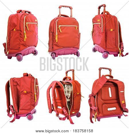 Children's School Trolley Bag On Wheels Orange Color On A White Background