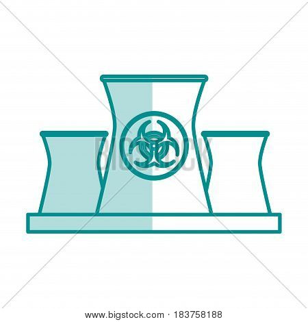 blue silhouette shading of industrial factory icon biohazard vector illustration