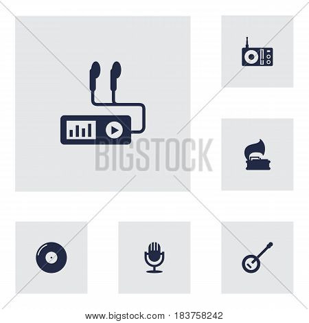 Set Of 6 Song Icons Set.Collection Of Karaoke, Banjo, Turntable And Other Elements.