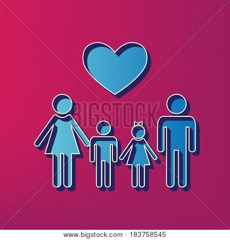 Family symbol with heart. Husband and wife are kept children's hands. Vector. Blue 3d printed icon on magenta background.