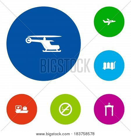 Set Of 6 Airplane Icons Set.Collection Of Aircraft, Luggage Check, Metal Detector And Other Elements.