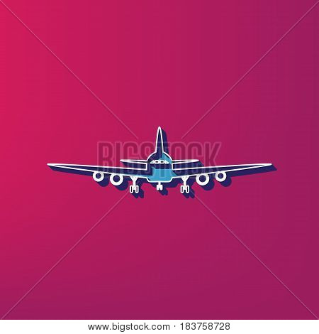 Flying Plane sign. Front view. Vector. Blue 3d printed icon on magenta background.