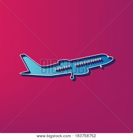 Flying Plane sign. Side view. Vector. Blue 3d printed icon on magenta background.