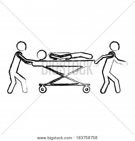 blurred silhouette pictogram paramedics with patient in stretcher vector illustration