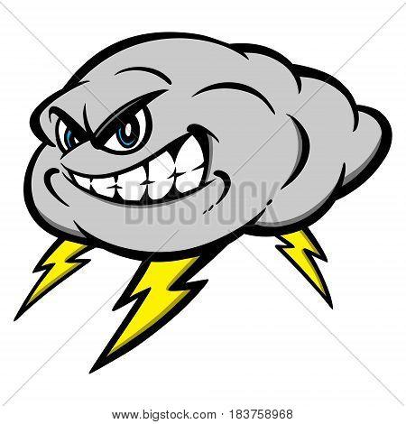 A vector illustration of cartoon Thunderstorm mascot.