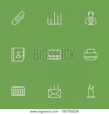 Set Of 9 Bureau Outline Icons Set.Collection Of Date, Post, Chart And Other Elements.