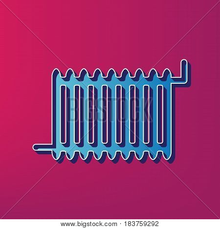 Radiator sign. Vector. Blue 3d printed icon on magenta background.