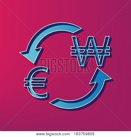 Currency exchange sign. Euro and South Korea Won. Vector. Blue 3d printed icon on magenta background.