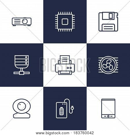 Set Of 9 Notebook Outline Icons Set.Collection Of Floppy, Printer, Cooler And Other Elements.