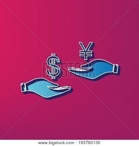Currency exchange from hand to hand. Dollar and Yen. Vector. Blue 3d printed icon on magenta background.