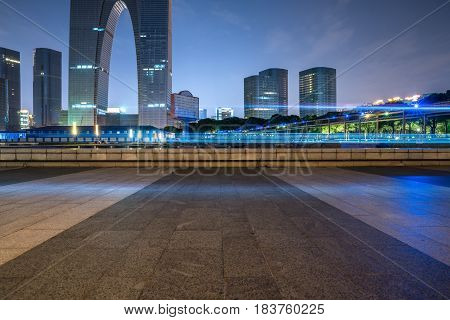 city empty plaza in financial district of China.