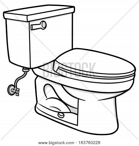 A vector illustration of a restroom Toilet.