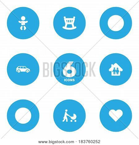 Set Of 6 Family Icons Set.Collection Of Automobile, Perambulator, Heart And Other Elements.