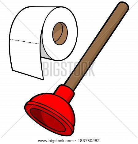 A vector illustration of a cartoon Plunger and Toilet paper.