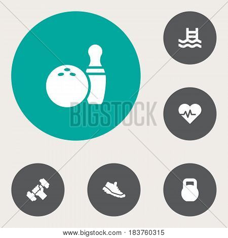 Set Of 6 Training Icons Set.Collection Of Basin, Kegling, Sneakers And Other Elements.