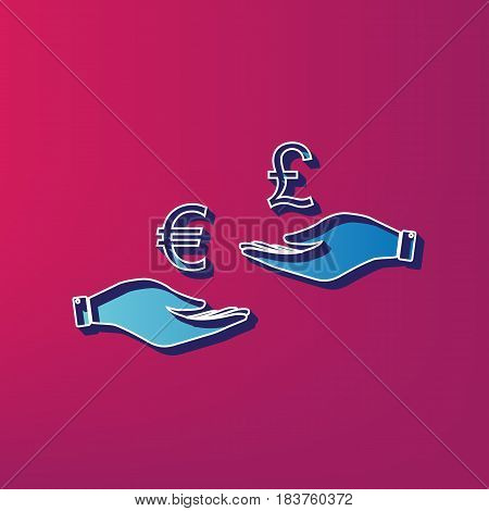Currency exchange from hand to hand. Euro and Pound. Vector. Blue 3d printed icon on magenta background.