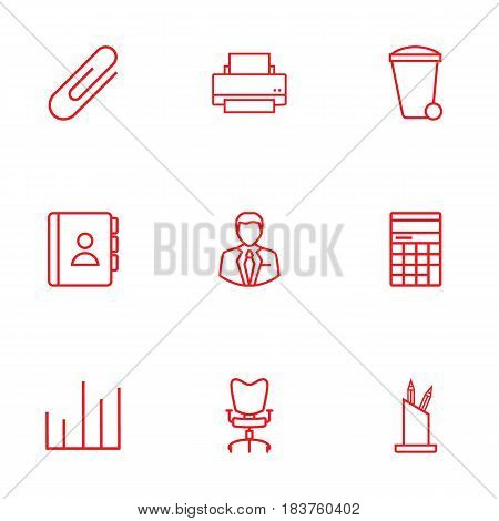 Set Of 9 Work Outline Icons Set.Collection Of Fastener Paper, Counter, Administrator And Other Elements.