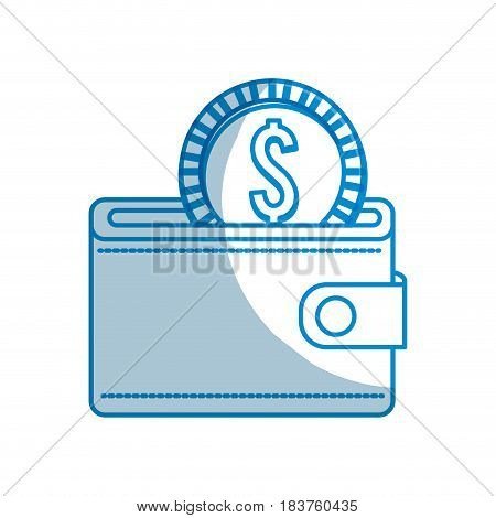 contour wallet with coin money inside, vector illustration