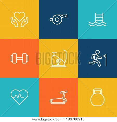 Set Of 9 Bodybuilding Outline Icons Set.Collection Of Exercise Bike, Pool, Whistle And Other Elements.