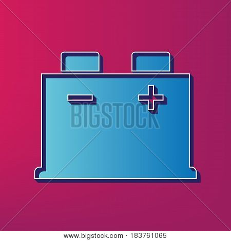 Car battery sign. Vector. Blue 3d printed icon on magenta background.