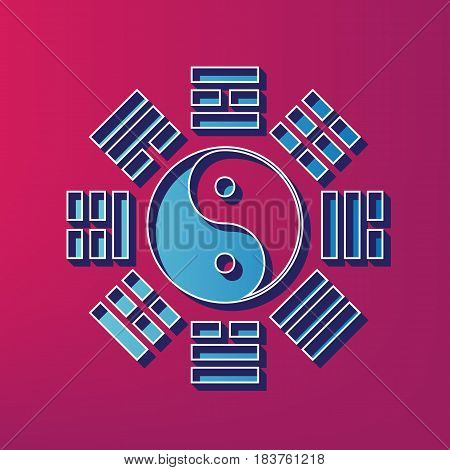 Yin and yang sign with bagua arrangement. Vector. Blue 3d printed icon on magenta background.