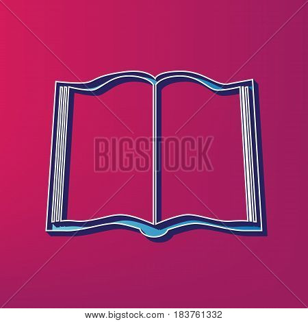 Book sign. Vector. Blue 3d printed icon on magenta background.