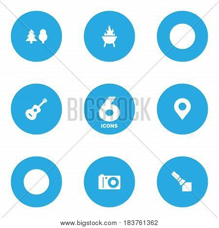 Set Of 6 Outdoor Icons Set.Collection Of Tree, Flashlight, Photo Camera And Other Elements.