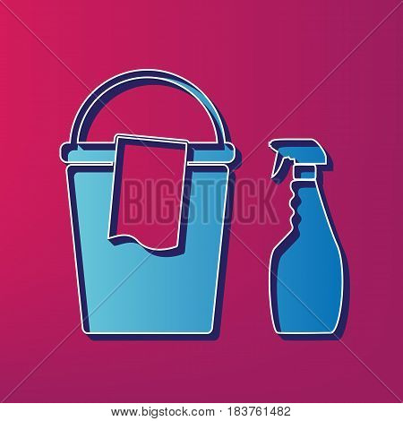 Bucket and a rag with Household chemical bottles. Vector. Blue 3d printed icon on magenta background.