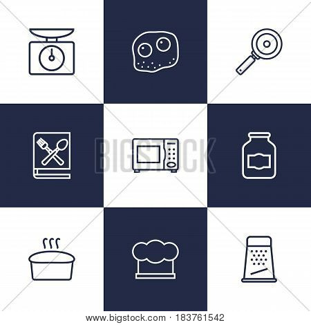 Set Of 9 Cooking Outline Icons Set.Collection Of Jug, Skillet, Hat And Other Elements.