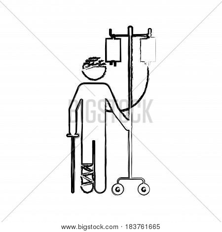 blurred silhouette pictogram bandage patient hospitalized vector illustration