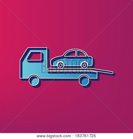Tow car evacuation sign. Vector. Blue 3d printed icon on magenta background.