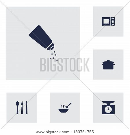 Set Of 6 Cooking Icons Set.Collection Of Saucepan, Electronic Oven, Weighing Machine And Other Elements.