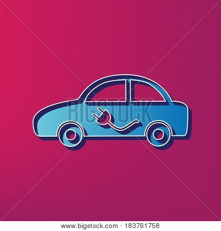 Electric car sign. Vector. Blue 3d printed icon on magenta background.