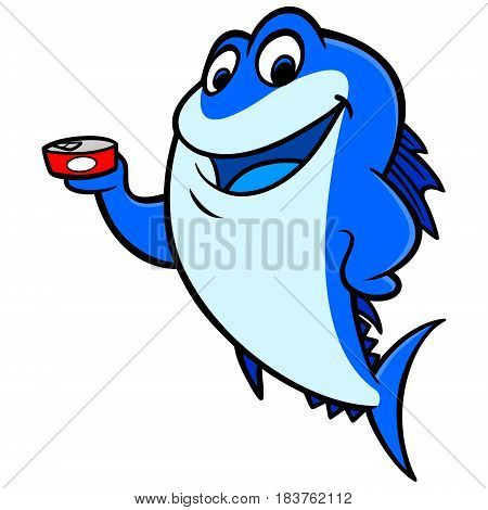 A vector illustration of a cartoon Tuna with a can of Tuna.