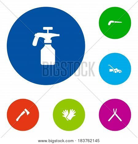 Set Of 6 Horticulture Icons Set.Collection Of Lawn Mower, Hacksaw, Spray Bootle And Other Elements.