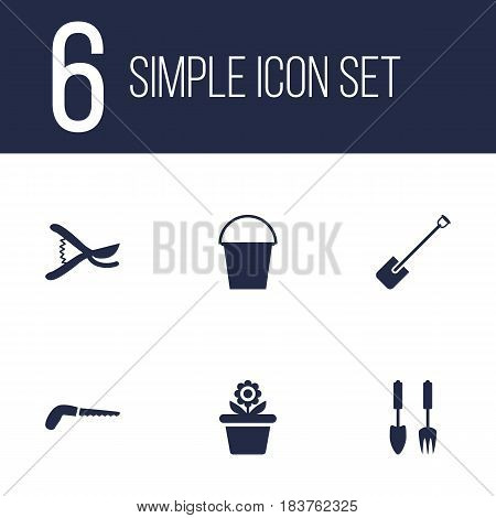 Set Of 6 Horticulture Icons Set.Collection Of Tools, Shovel, Hacksaw And Other Elements.