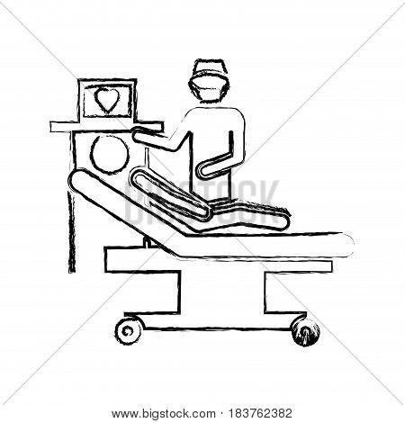 blurred silhouette pictogram person with cardiologist vector illustration