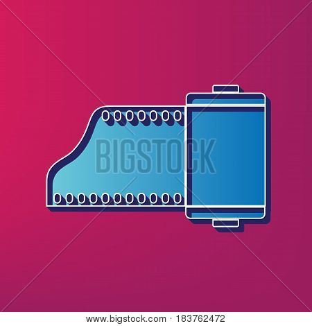 Old photo camera casset sign. Vector. Blue 3d printed icon on magenta background.