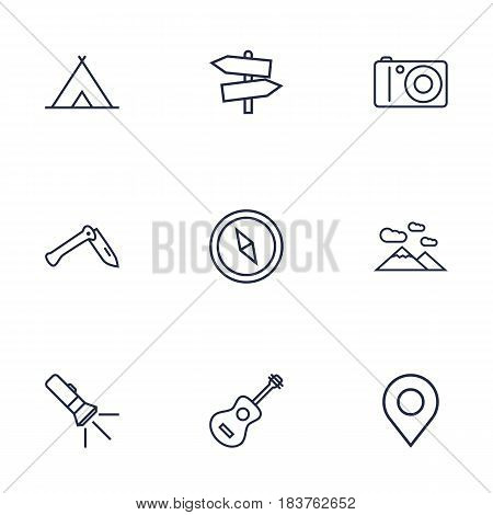 Set Of 9 Picnic Outline Icons Set.Collection Of Compass, Mountains, Photographing And Other Elements.