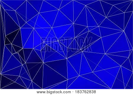 Dark blue abstract low poly geometric background with white triangle mesh.